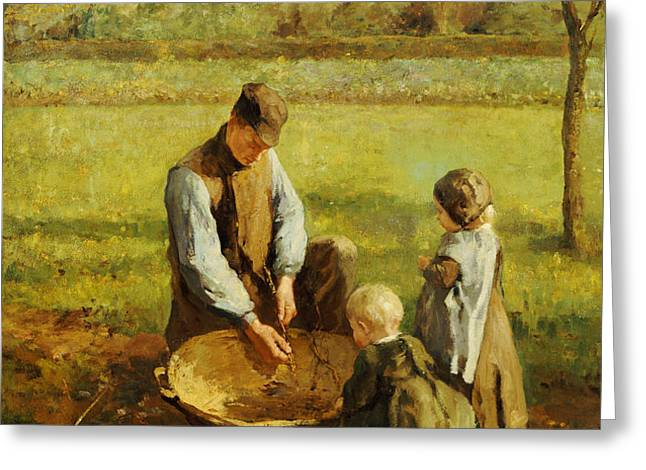 Watching Father Work Greeting Card by Albert Neuhuys