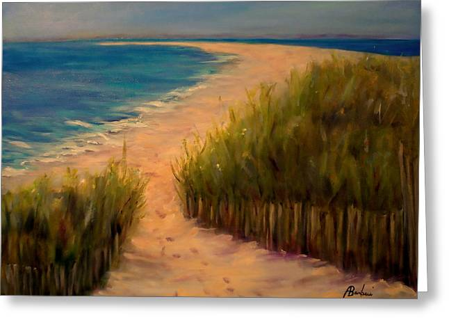 Sand Art Greeting Cards - Watching From The Hill Greeting Card by Anne Barberi