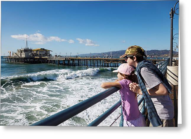 Arm Around Boy Greeting Cards - Watching from the pier Greeting Card by Jo Ann Snover