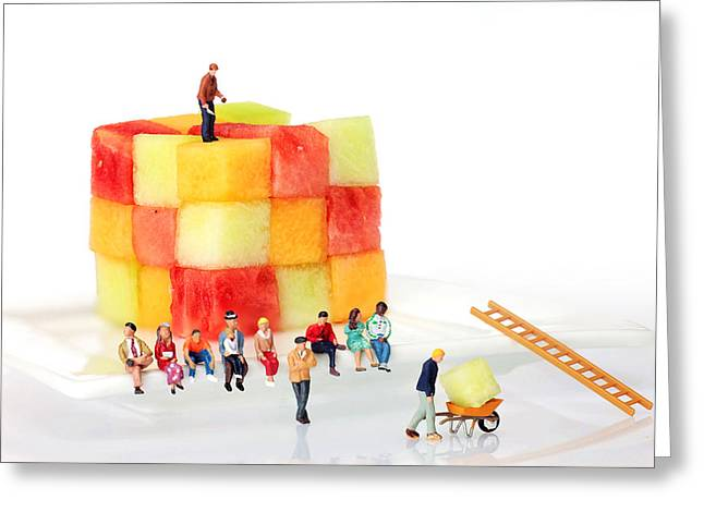 Melon Greeting Cards - Watching fruit construction little people on food Greeting Card by Paul Ge