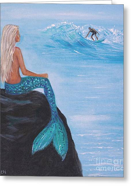 Surfer Art Greeting Cards - Watching Her Surfer Greeting Card by Leslie Allen