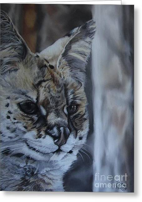 Wild Life Pastels Greeting Cards - Watching Greeting Card by Jane Hazell