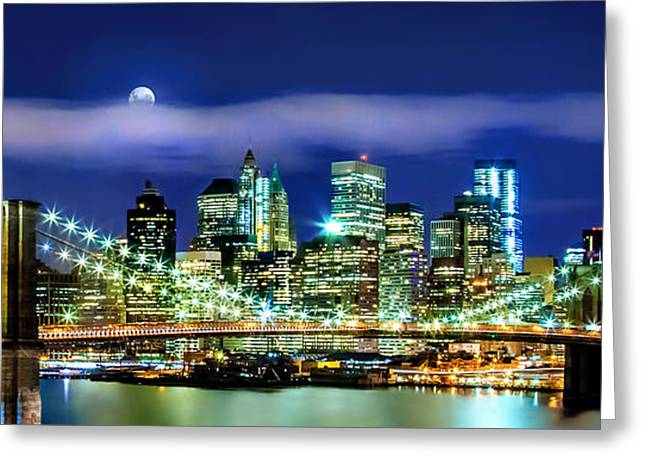 Panoramic Photography Greeting Cards - Watching Over New York Greeting Card by Az Jackson