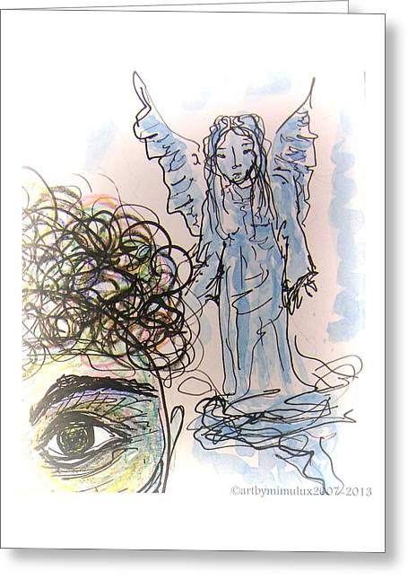 Guardian Angel Drawings Greeting Cards - Watching Over You Greeting Card by Mimulux patricia no