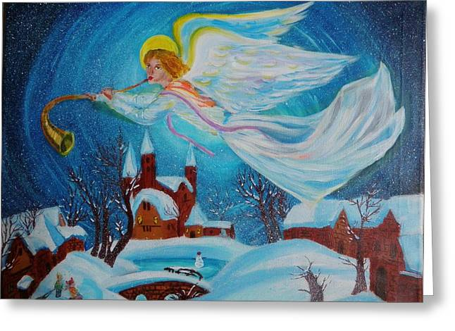 Night Angel Greeting Cards - Watching Over You Greeting Card by Ruslana Lev