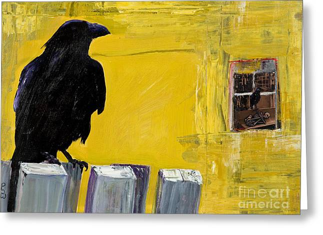 Crows Greeting Cards Greeting Cards - Watching Greeting Card by Pat Saunders-White