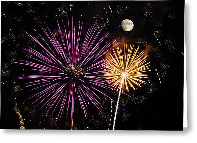 Pyrotechnics Greeting Cards - Watching Pink and Gold Explosion - Fireworks and Moon II Greeting Card by Penny Lisowski