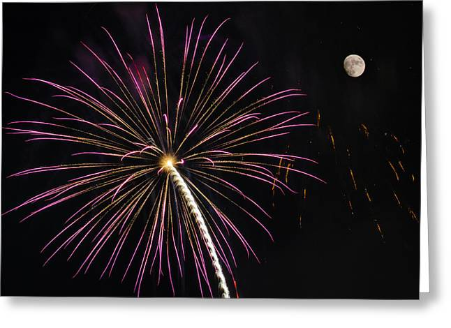 Pyrotechnics Greeting Cards - Watching Pink and Gold Explosion - Fireworks and Moon I  Greeting Card by Penny Lisowski