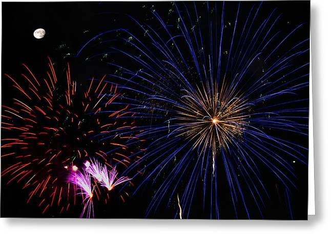 Pyrotechnics Greeting Cards - Watching Red and Blue Starbursts - Fireworks Greeting Card by Penny Lisowski