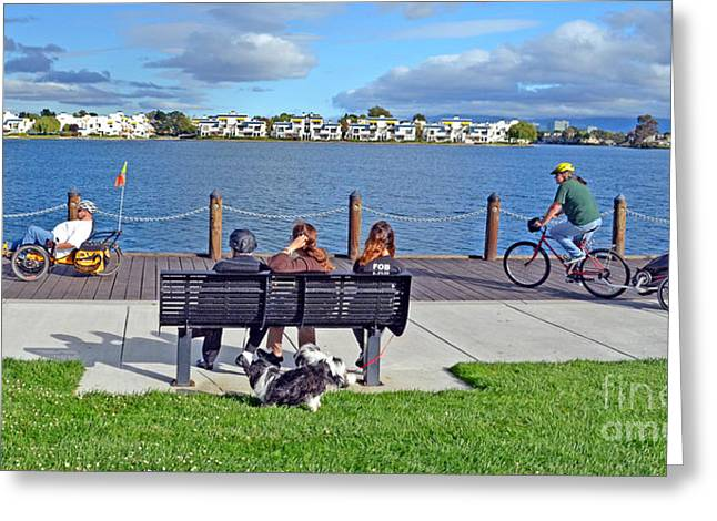 Congressman Greeting Cards - Watching the Bikes Go By at Congressman Leo Ryans Memorial Park Greeting Card by Jim Fitzpatrick