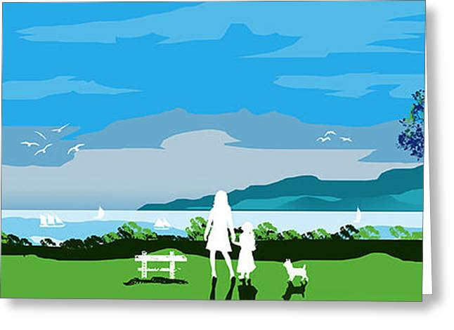 Dogs Digital Art Greeting Cards - Watching The Boats With Mum And Ben Greeting Card by Peter Stevenson
