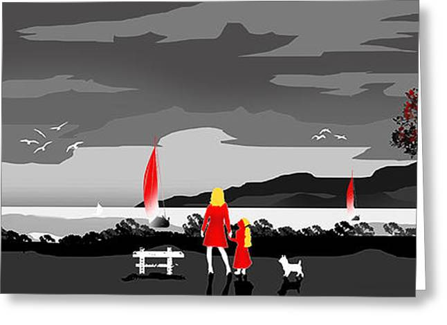 Dogs Digital Art Greeting Cards - Watching the Boats With Mum And Ben....Desat Greeting Card by Peter Stevenson