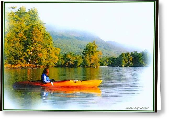 Kayak Mixed Media Greeting Cards - Watching the Fog Rise Greeting Card by Hank  Clark