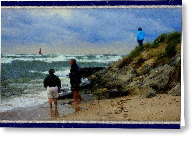 Storm Prints Pastels Greeting Cards - Watching The Storm Come In Greeting Card by Rosemarie E Seppala