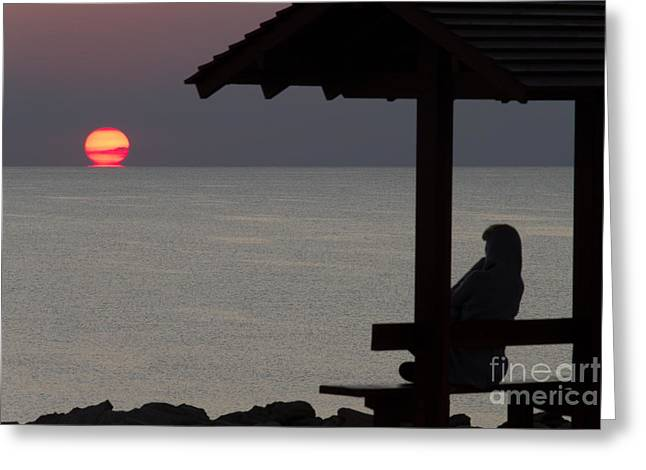 Lonly Greeting Cards - Watching The Sun Melting Greeting Card by Stylianos Kleanthous