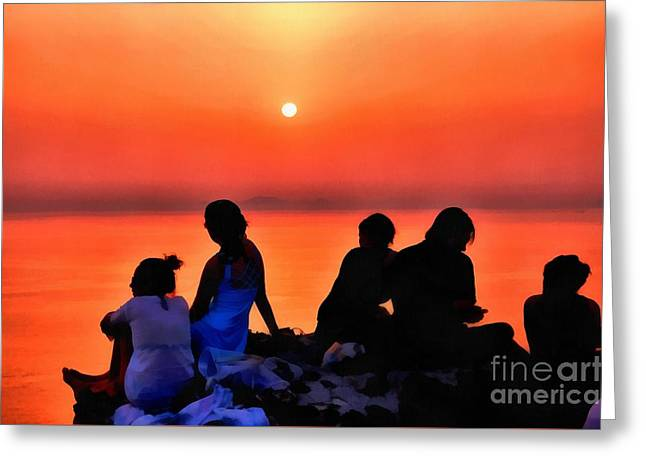 Santorini Greeting Cards - Watching the sunset in Oia Greeting Card by George Atsametakis