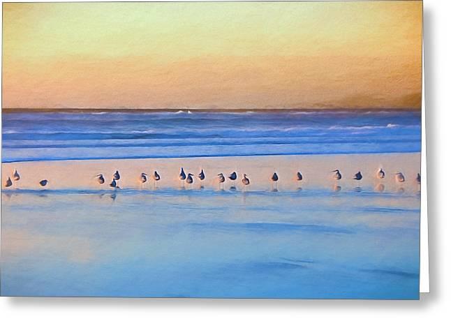 Watching The Sunset Greeting Card by John K Woodruff