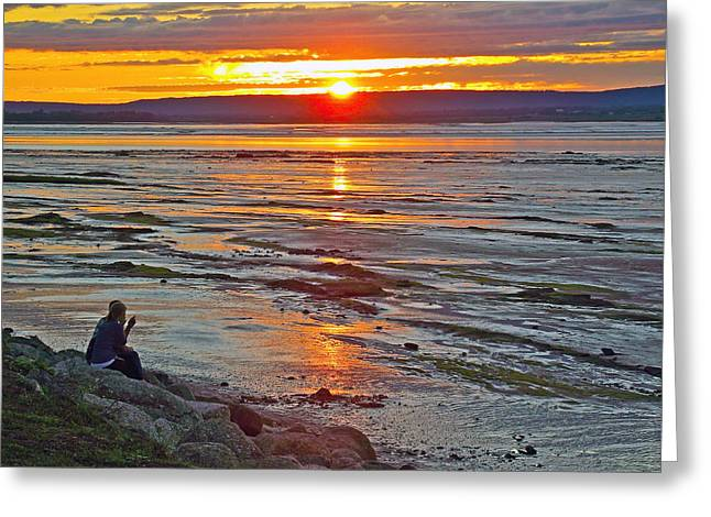 Minas Basin Greeting Cards - Watching the Sunset over Minas Basin in Fundy Bay near Grand Greeting Card by Ruth Hager