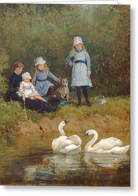 Fishing Rods Photographs Greeting Cards - Watching The Swans Oil On Canvas Greeting Card by Heywood Hardy