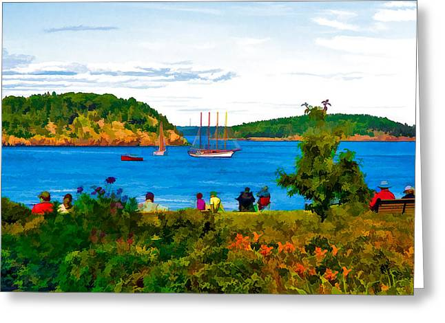 Tall Ships On Water Greeting Cards - Watching the Tall Ships in Bar Harbor Maine Greeting Card by Ginger Wakem