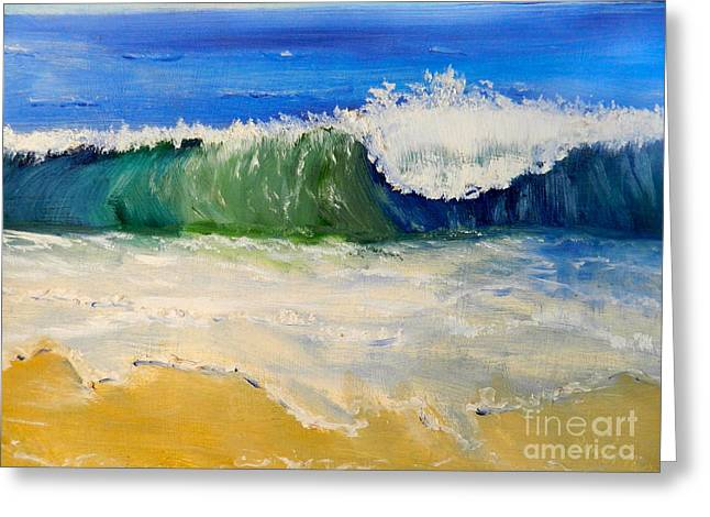 Pamela Meredith Greeting Cards - Watching the Wave as come on the Beach Greeting Card by Pamela  Meredith