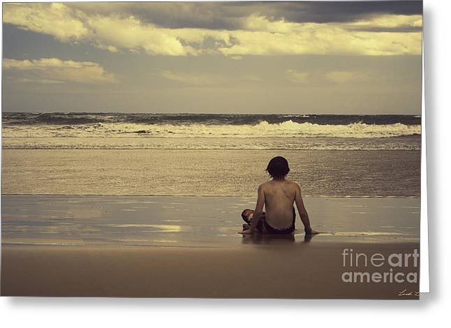 Lindalees Greeting Cards - Watching the Waves Greeting Card by Linda Lees