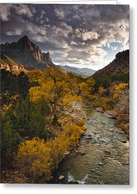 Fall Photos Greeting Cards - Watchman Sunset Greeting Card by Joseph Rossbach
