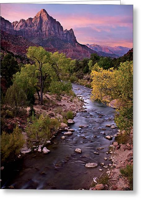 Watchman  Tower Zion Sunrise Greeting Card by Dave Dilli