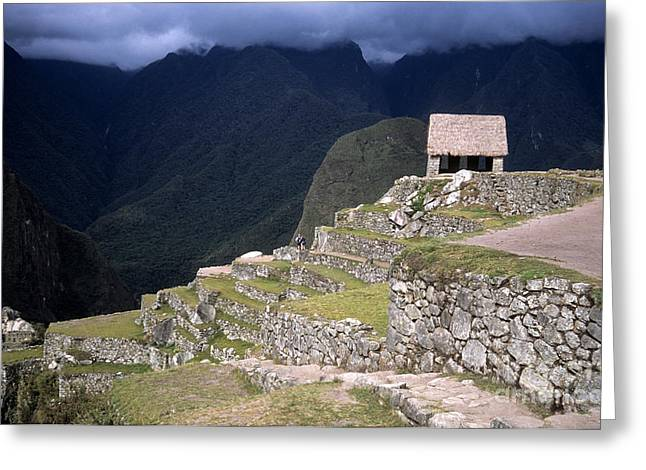 Lost City Greeting Cards - Watchmans Hut Machu Picchu Greeting Card by James Brunker