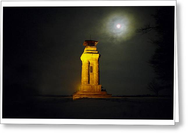 Night Scenes Greeting Cards - Watchtower Greeting Card by Aged Pixel