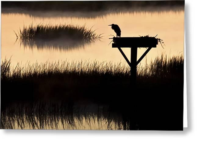 Tidal Photographs Greeting Cards - Watchtower Heron Sunrise Sunset Image Art Greeting Card by Jo Ann Tomaselli