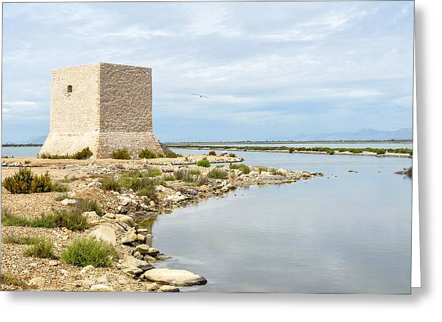 Tetyana Kokhanets Greeting Cards - Watchtower In The Salt Lakes Greeting Card by Tetyana Kokhanets