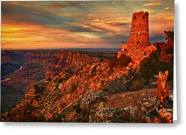 The Plateaus Greeting Cards - Watchtower Sunset Greeting Card by Priscilla Burgers