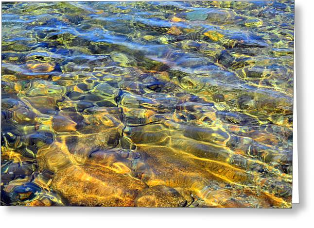 Pond In Park Greeting Cards - Water Abstract Greeting Card by Lynda Lehmann