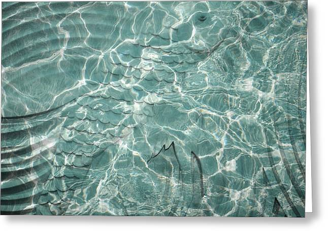 Water Patterns Greeting Cards - Water Abstract with Fish Greeting Card by Jenny Rainbow