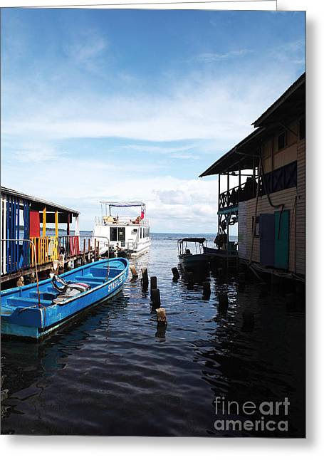 Boats In Water Photographs Greeting Cards - Water Alley in Bocas Town Greeting Card by John Rizzuto