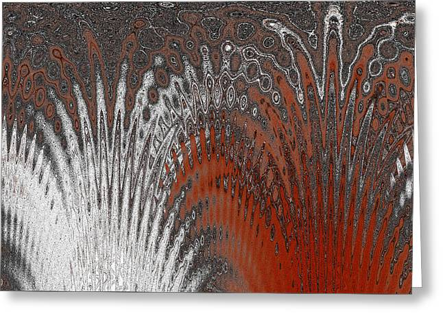 Ice And Warm Colors Greeting Cards - Water And Ice - Red Splash Greeting Card by Ben and Raisa Gertsberg