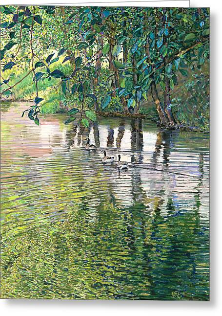 Canada Pastels Greeting Cards - Water And Woodland Greeting Card by Nick Payne