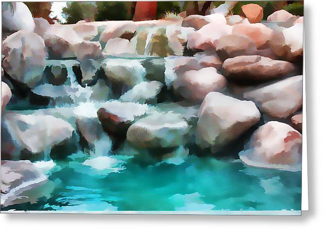 Digital Art Greeting Cards - Water Art  Pond At  Palm Desert Muse Greeting Card by Sherri  Of Palm Springs