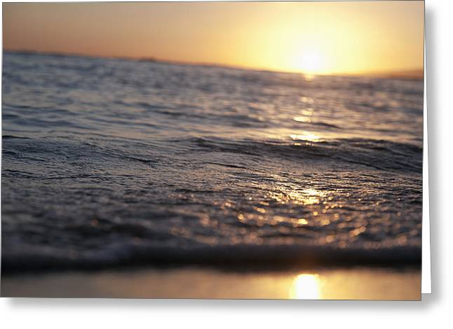 Water at Sunset Greeting Card by Brandon Tabiolo