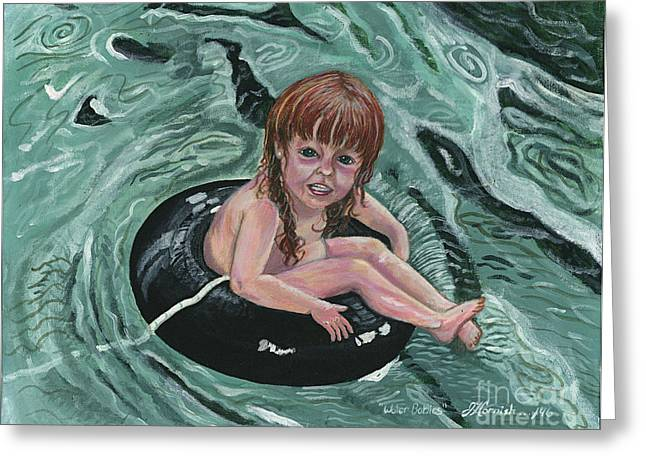 Floating Girl Greeting Cards - Water Babies Greeting Card by Janis  Cornish