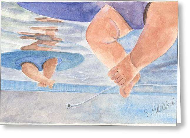 Underwater Photos Paintings Greeting Cards - Water Babies Greeting Card by Sheryl Heatherly Hawkins