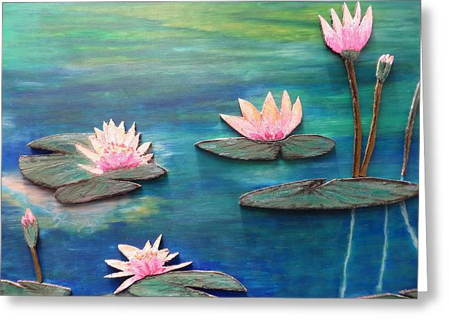 Water Lilly Pastels Greeting Cards - Water Blossom Greeting Card by Daniel Dubinsky