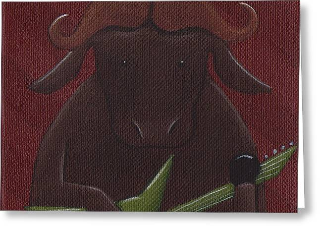 Buffalo Greeting Cards - Water Buffalo Rock Star Greeting Card by Christy Beckwith