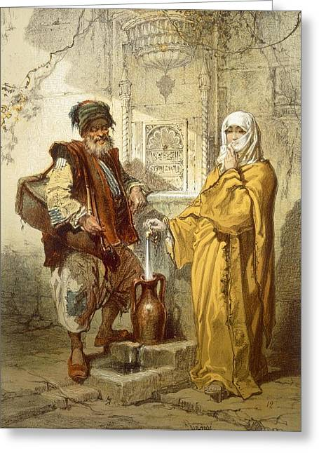 Water Vessels Greeting Cards - Water-carrier, 1865 Greeting Card by Amadeo Preziosi