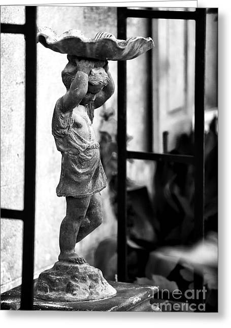 For The Garden Greeting Cards - Water Carrier in the Garden Greeting Card by John Rizzuto