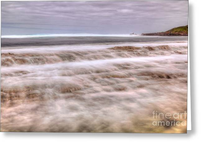 Island Greeting Cards - Water cascading over reef Greeting Card by Andy Jackson
