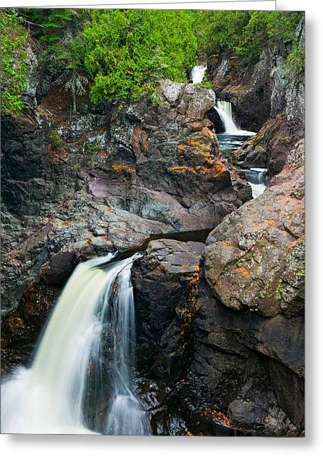 Park Scene Greeting Cards - Water Cascading Over Rocks, Cascade Greeting Card by Panoramic Images