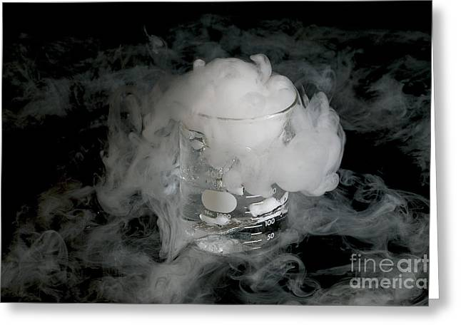 Co2 Greeting Cards - Water-co2 Cloud Above Beaker Greeting Card by Gregory G. Dimijian, M.D.