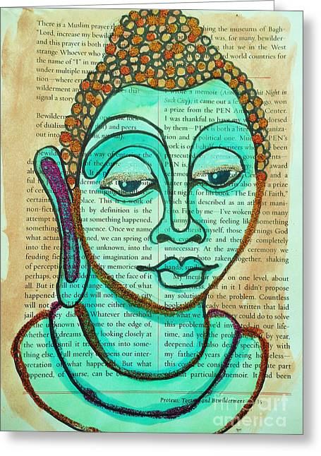 Buddha Sketch Greeting Cards - Water Color Buddha  Greeting Card by Sherry Dooley